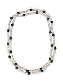 Colier cu perle de cultura, agate negre si cristale CZ