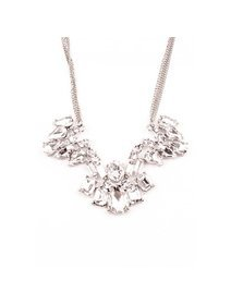 Colier fashion, argintiu, cu cristale transparente
