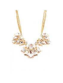 Colier fashion, auriu, cu cristale transparente