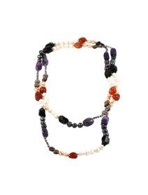 Colier IJOO cu perle mari de cultura si pietre semipretioase