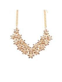 Colier statement auriu cu cristale fashion