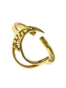 Inel IJOO, din argint 925 placat cu aur, Moon&Stars