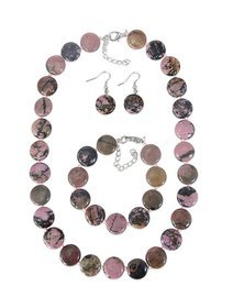 Set agate roz, format din colier, bratara si cercei