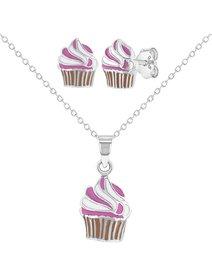 Set argint 925, format din colier si cercei - pentru fete - Enamel Cupcake