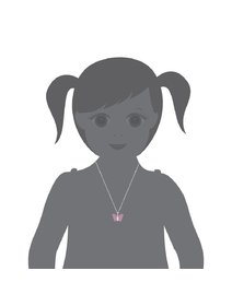 Set argint pentru copii: bratara si colier cu fluture roz