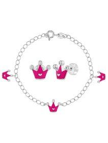 Set argint pentru copii, format din bratara si cercei, cu tematica - coroana de printesa