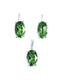 Set arigint, cu cristale mari, prinse in montura