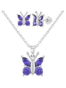 Set bijuterii argint: cercei, lant si pandant - fluture, mov