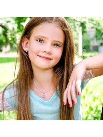 Set bijuterii argint pentru copii: cercei si colier - floare roz