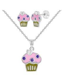 Set bijuterii argint, pentru copii, cu tematica - Cupcake