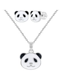Set bijuterii copii, din argint 925, cu ursulet panda