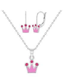 Set bijuterii de copii, din argint 925: cercei si colier - Coroana Regala