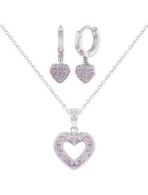 Set bijuterii fata, din argint 925, inimi