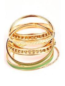 Set bratari fixe din metal, nuante de verde si auriu