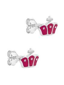Set din argint pentru fete, format din cercei si  colier, coroana roz