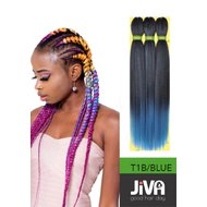 Extensii codite afro Waterfall braid T1B/BLUE