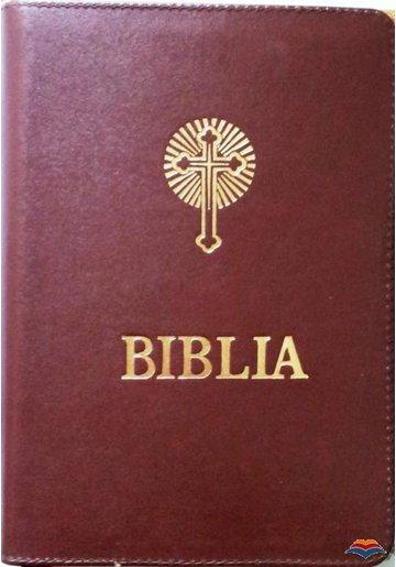 Biblia format mijlociu (cu fermoar, legata in piele)