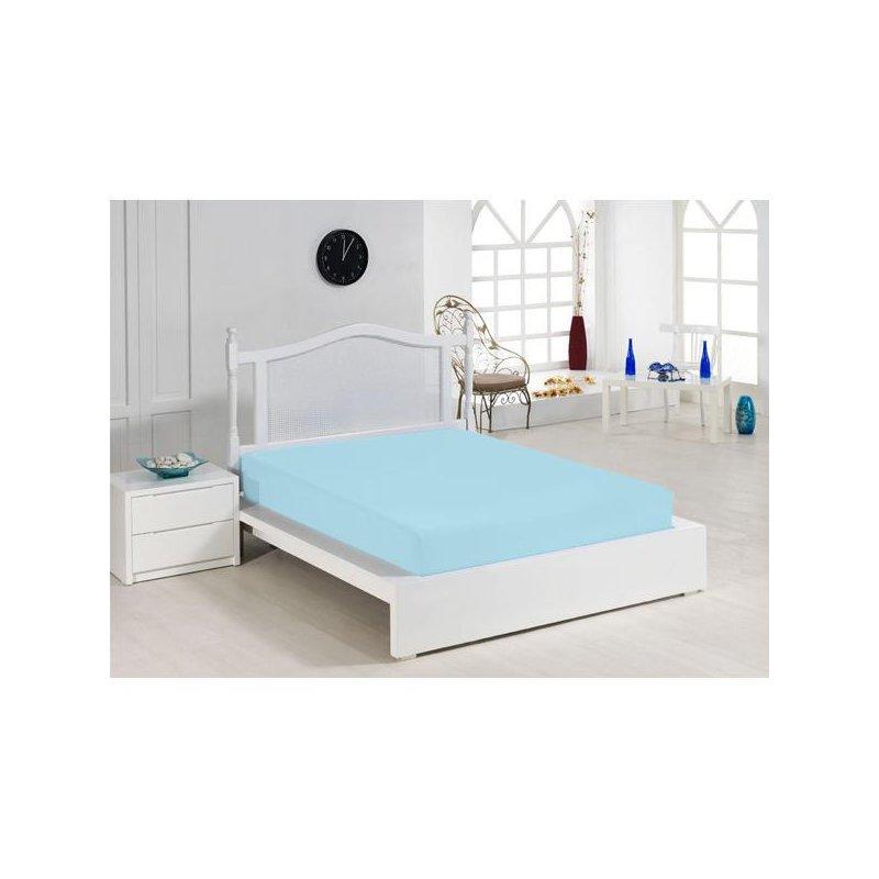 Cearceaf cu elastic turquoise 140x200 luxuriante.ro 2021