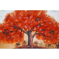 Tablou pictat manual Autumn Tree, 60x90cm