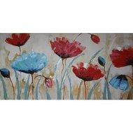 Tablou pictat manual Blue Poppy, 60x120cm