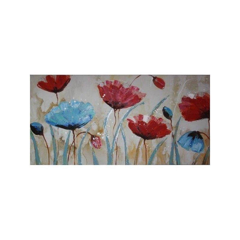 Tablou pictat manual Blue Poppy, 60x120cm luxuriante.ro 2021