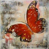Tablou pictat manual Butterfly rosu, 40x40cm