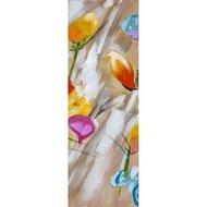 Tablou pictat manual Colorful flowers C, 90x30cm