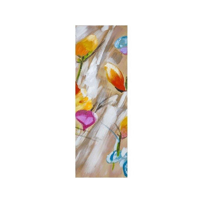 Tablou pictat manual Colorful flowers C, 90x30cm luxuriante.ro 2021