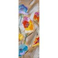 Tablou pictat manual Colorful flowers D, 100x35cm