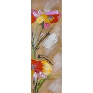 Tablou pictat manual Colorful flowers E, 80x25cm