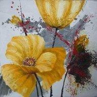Tablou pictat manual Crizanteme galbene, 40x40cm