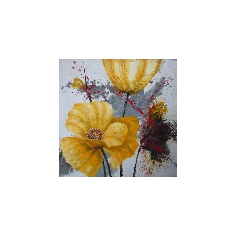 Tablou pictat manual Crizanteme galbene, 40x40cm luxuriante.ro 2021