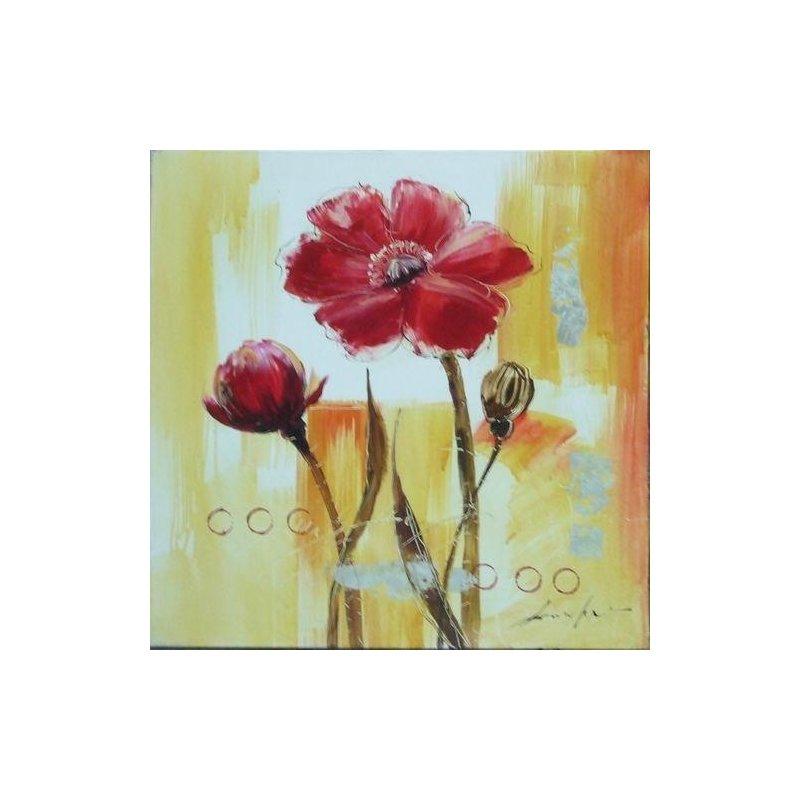Tablou pictat manual Crizanteme rosii, 40x40cm luxuriante.ro 2021