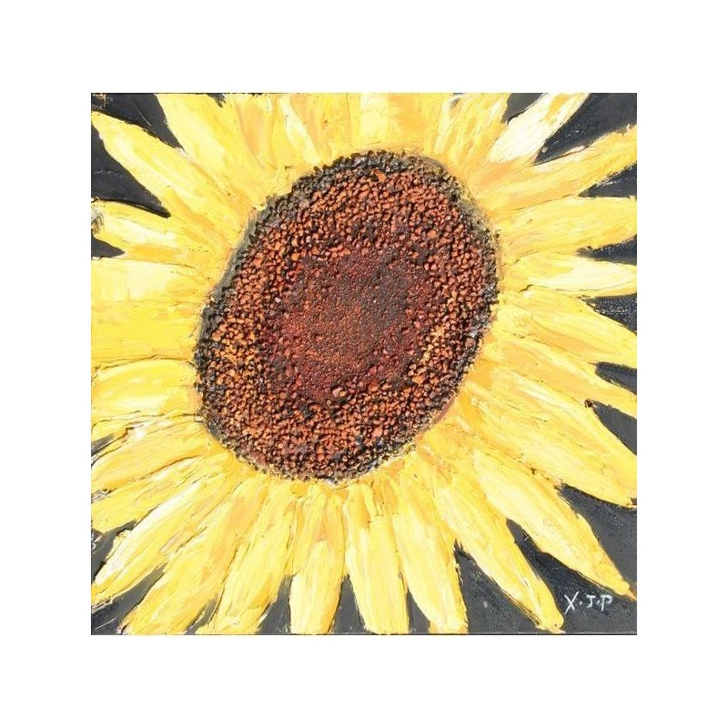 Tablou pictat manual Floarea Soarelui A, 40x40cm luxuriante.ro 2021
