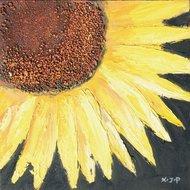 Tablou pictat manual Floarea Soarelui B, 40x40cm