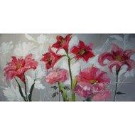 Tablou pictat manual Flori de crin, 60x120cm