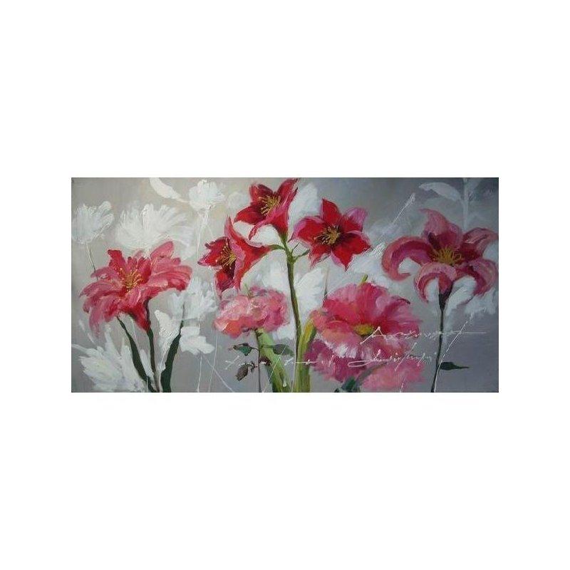 Tablou pictat manual Flori de crin, 60x120cm luxuriante.ro 2021