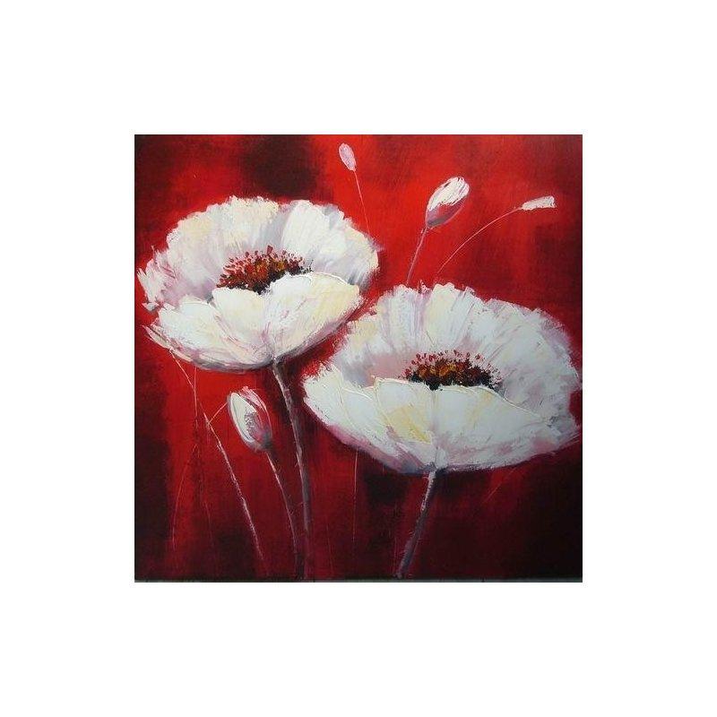 Tablou pictat manual Flori de Mac albe, 60x60cm luxuriante.ro 2021