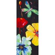 Tablou pictat manual Florid A, 100x40cm