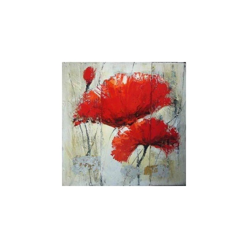 Tablou pictat manual Garoafe rosii, 60x60cm luxuriante.ro 2021