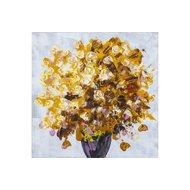 Tablou pictat manual Geranium galben 60x60cm