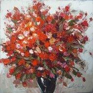 Tablou pictat manual Geranium rosu, 60x60cm
