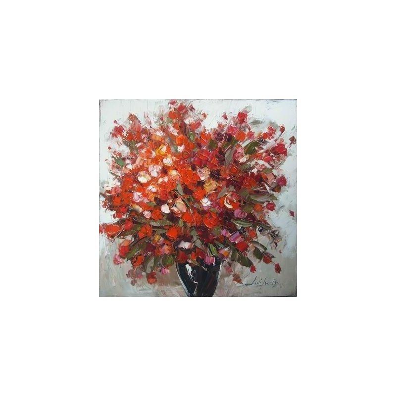 Tablou pictat manual Geranium rosu, 60x60cm luxuriante.ro 2021