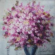 Tablou pictat manual Geranium roz, 60x60cm