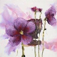 Tablou pictat manual Lilies pink, 60x60cm
