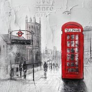 Tablou pictat manual London reds, 40x40cm