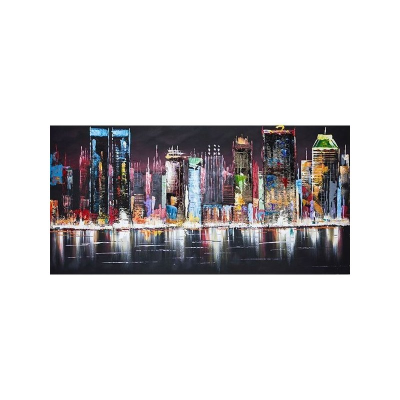 Tablou pictat manual Night lights, 70x140cm luxuriante.ro 2021