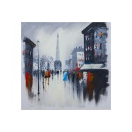 Tablou pictat manual Parisian way 80x80 cm