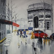 Tablou pictat manual Raining day 80x80cm