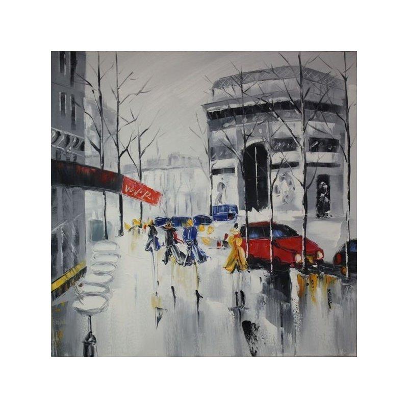 Tablou pictat manual Raining day 80x80cm luxuriante.ro 2021